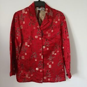 Chicos size 0 size small red oriental blouse